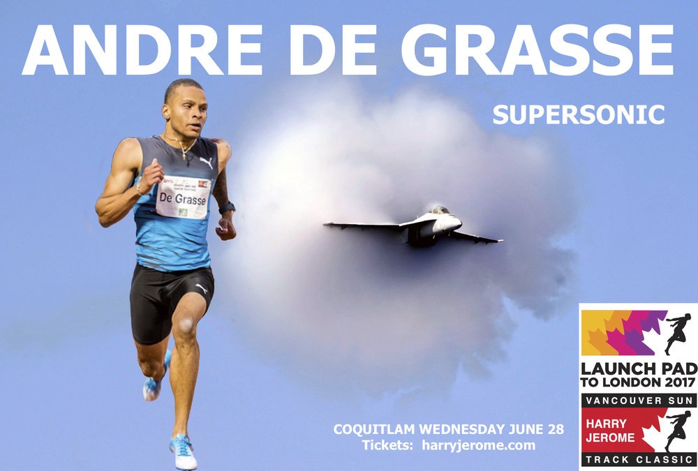Andre De Grasse will run the 100m at Percy Perry Stadium pn June 28th