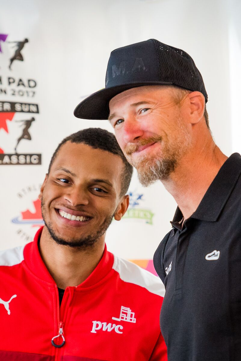 Andre De Grasse with Coach Stu McMillan     Photo Credit: Brian Cliff