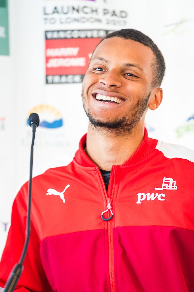 Andre De Grasse hopes for fast track and favourable winds for tomorrow 100m  Photo Credit: Brian Cliff