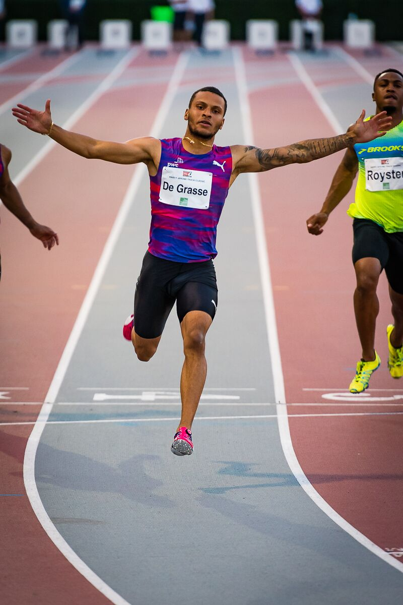 Andre De Grasse wins Jerome  100m  photo credit: Brian Cliff