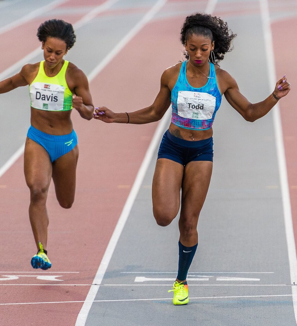 Jasmine Todd of USA wins 100m    hoto credit: Brian Cliff