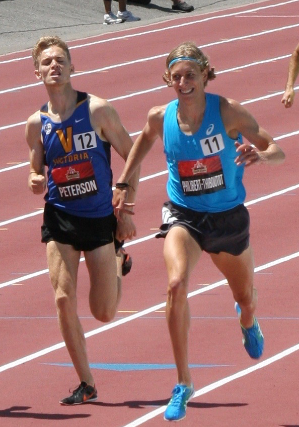Cole Peterson just behind Charles Philibert Thiboutot at 2017 National Championships