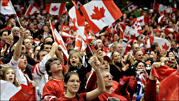 Sea of red and white support Canada