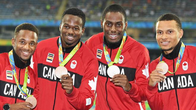 Canada's 4x100m team 2015 Pan Ams, from left, Akeem Haynes, Aaron Brown, Brendon Rodney and Andre De Grasse