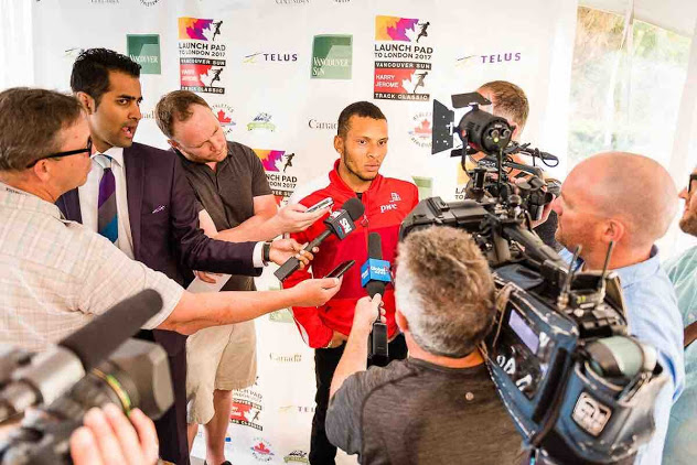 Andre De Grasse at Media Conference at 2017 Vancouver Sun Harry Jerome Track Classic