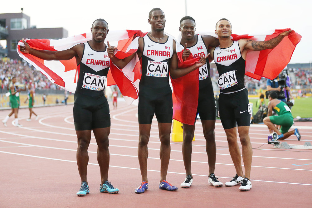 From left; Gavin Smellie, Brendon Rodney, Aaron Brown and Andre De Grasse at Toronto Pan Ams