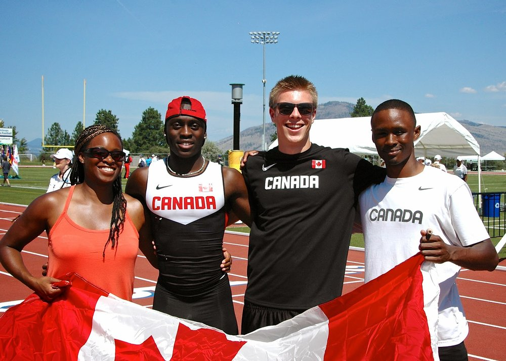 from left Coach Tara Self, Ben Ayesu-Attah, James Linde and Nathan George