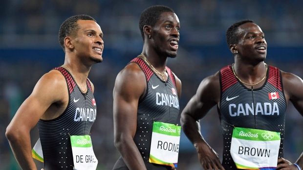from left Andre De Grasse, Brendon Rodney and Aaron Brown