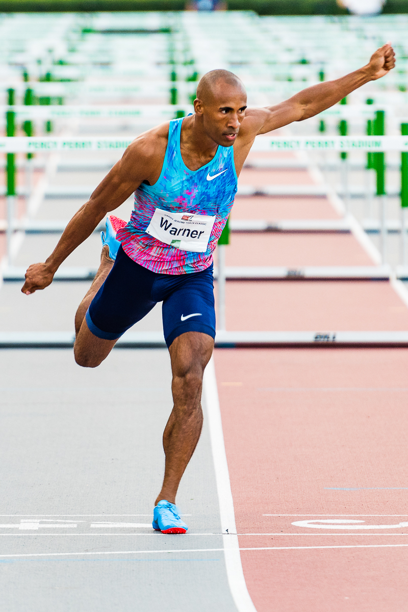 Damian Warner at 2017 Vancouver Sun Harry Jerome Track Classic  photo by Brian Cliff