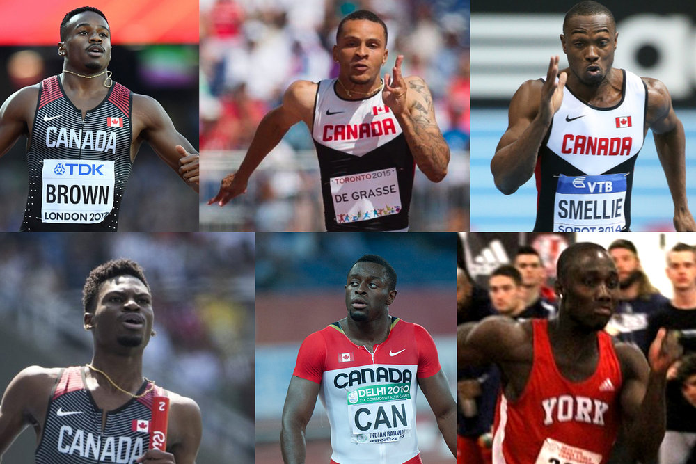 Canada has the raw speed with Aaron Brown, Andre De Grasse, Gavin Smellie, Bismark Boateng, Sam Effah and  Bolade Ajomale, clockwise