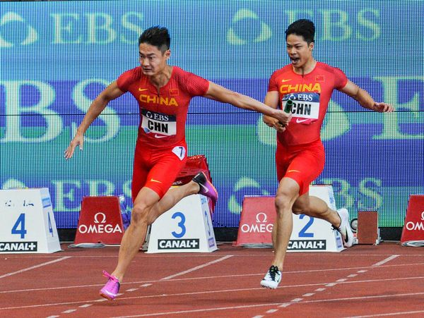 Team China 4x100m won the Diamond League in Monaco in 2017 with synchronous passing