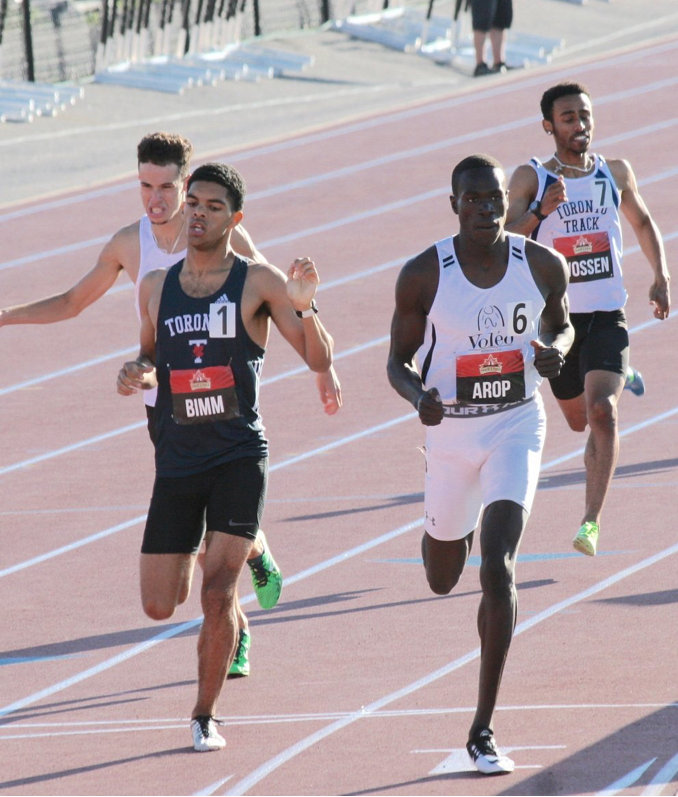 Marco Arop eases to heat win at National U20 800m in Ottawa last year