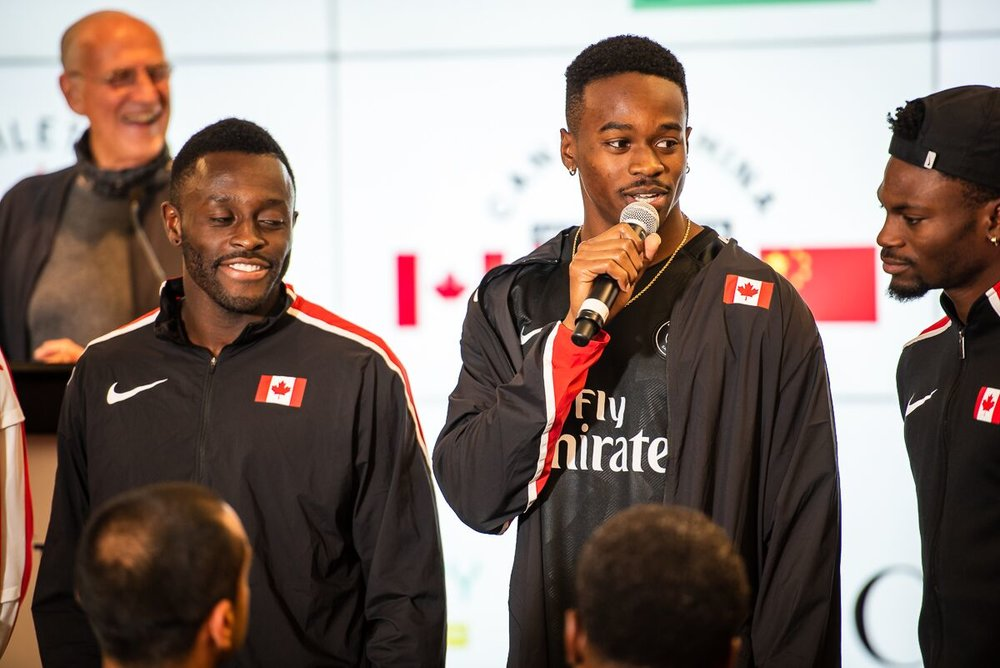 Aaron Kingsley Brown, centre, with team mates Sam Effah, left and Bolade Ajomale at today's media conference for China vs Canada Team Sprint Challenge for the Pacific World Cup.         photo: Brian Cliff