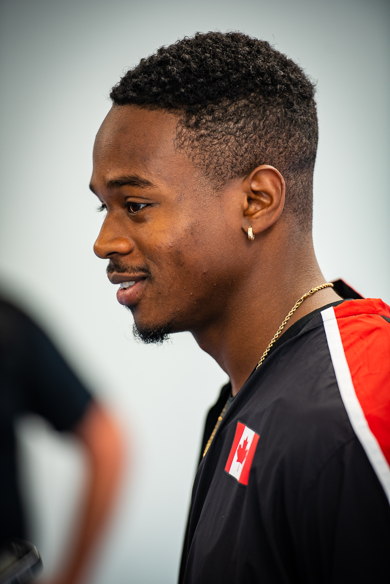 Aaron Brown takes the China Canada Team sprint 100m in 10.21  photo: Brian cliff