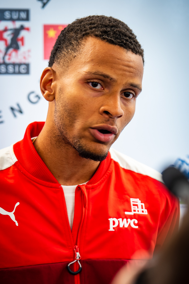 Andre De Grasse scores 6 point for Team Canada in 100m with his 10.36 100m  photo: BrianCliff