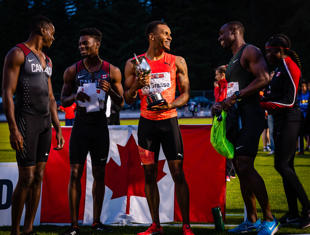 From left, Aaron Brown, Bolade Ajomale, Andre De Grasse, Gavin Smellie and Crystal Emmanuel  photo: BrianCliff