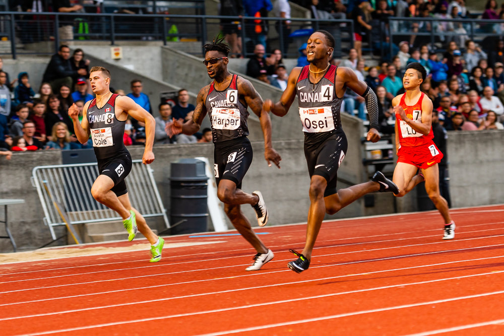 Philip Osei wins 400m in China vs Canada Team Sprint Challenge photo: Brian Cliff