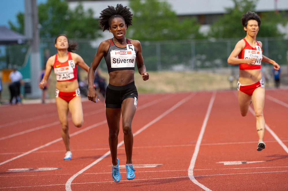 Aiyanna Stiverne takes China vs Canada Team Sprint Challenge 400m  photo; Allan Hay