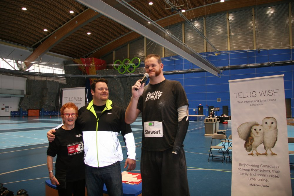from right, Greg Stewart with Olympians, Dylan Armstrong and Diane Clement