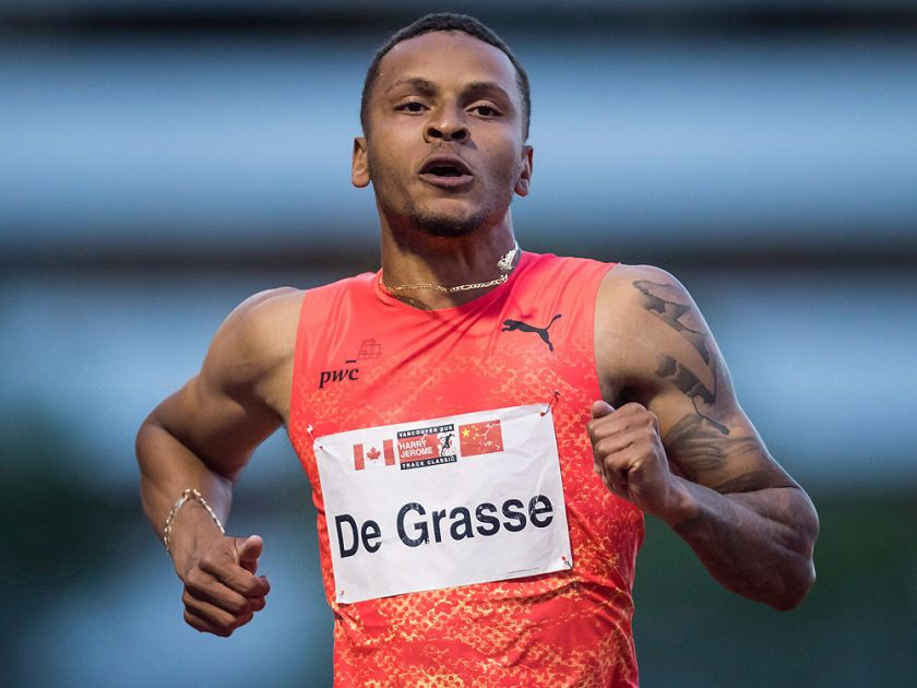 Andre De Grasse sprints to a third-place finish during the Canada-China challenge men's 100 metre race at the Harry Jerome International Track Classic, in Burnaby, B.C., on Tuesday, June 26, 2018. (THE CANADIAN PRESS/Darryl Dyck)