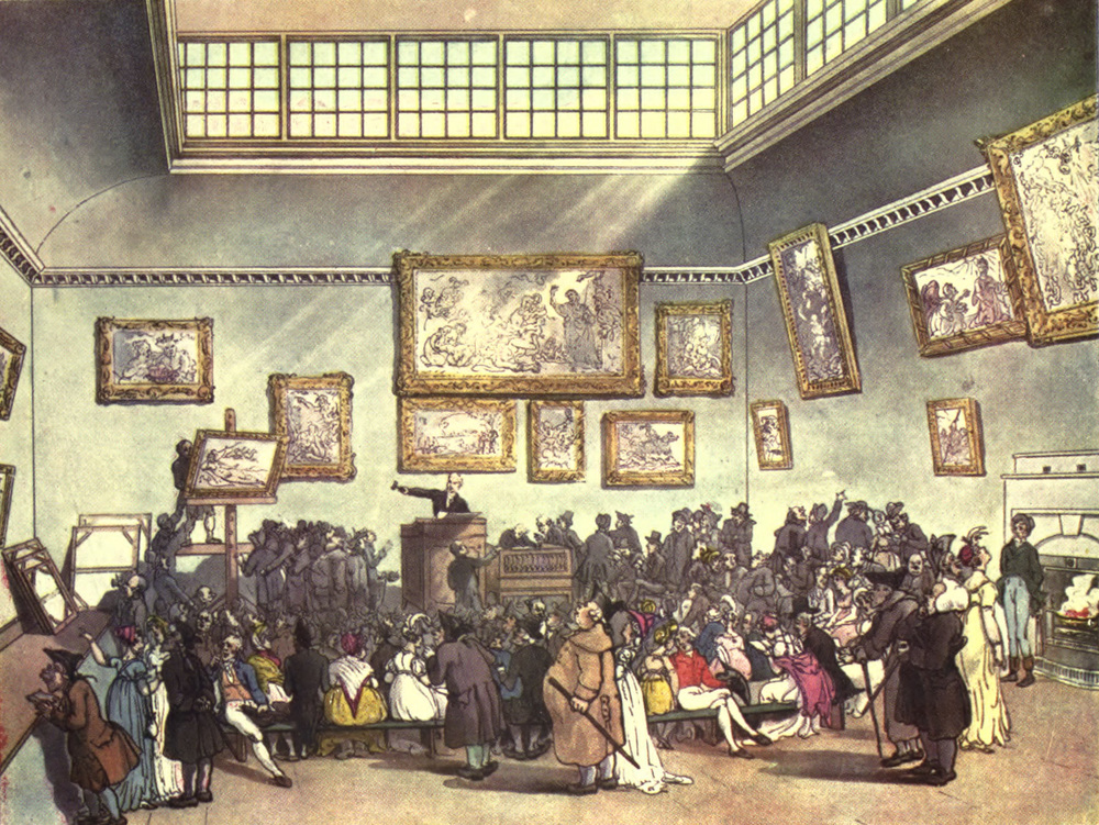 Auction Room, Christie's, by Thomas Rowlandson (1756–1827) and Augustus Charles Pugin (1762–1832) (after) John Bluck (fl. 1791–1819), Joseph Constantine Stadler (fl. 1780–1812), Thomas Sutherland (1785–1838), J. Hill, and Harraden (aquatint engravers)