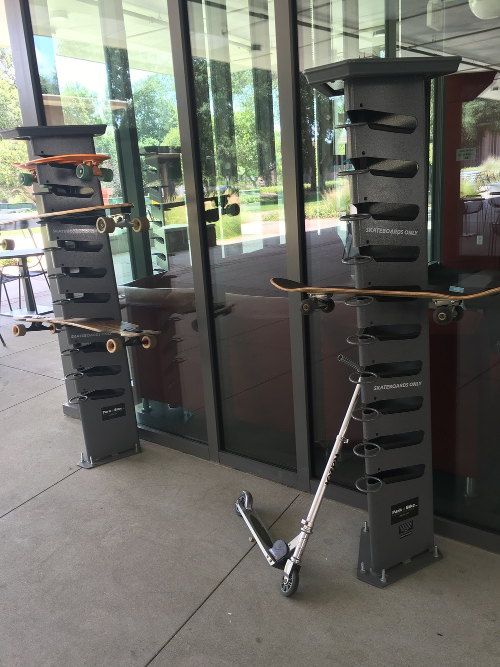 These skateboard stands can be found all over campus!