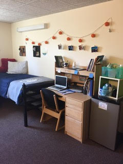 Dorm room at Bentley University
