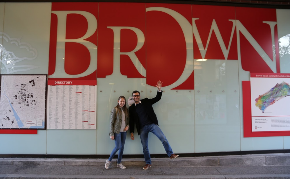 Murilo visiting a student at Brown University.
