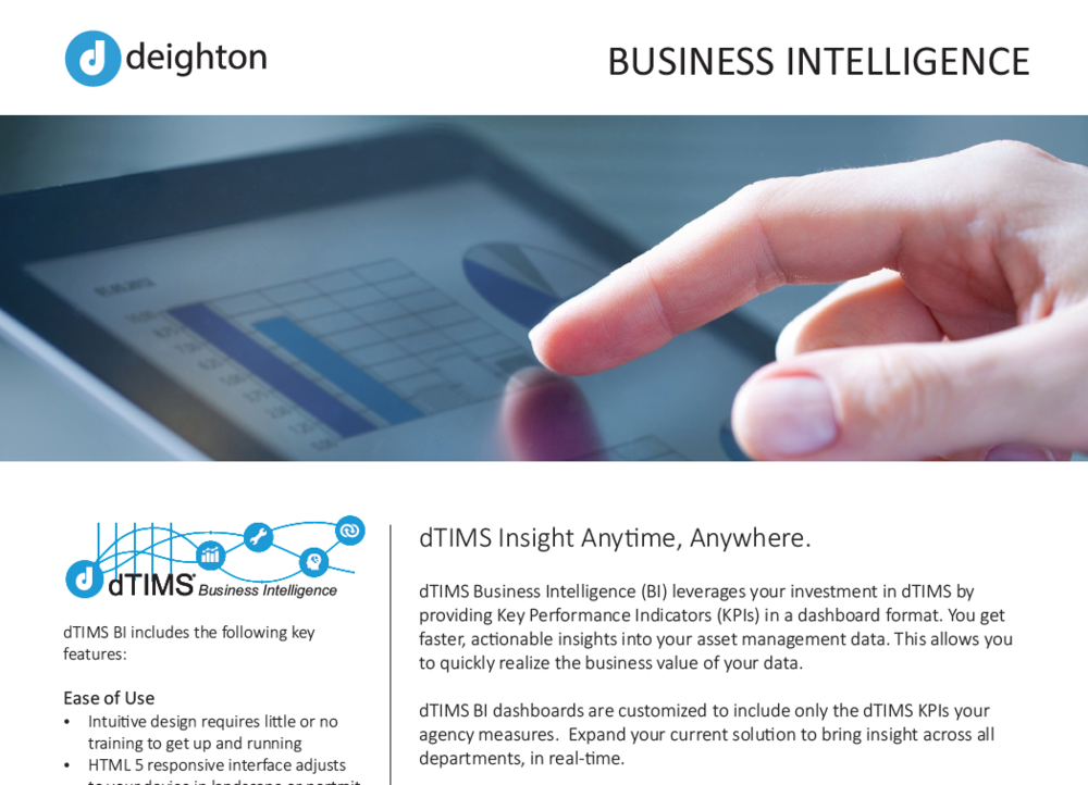 Datasheet - Download the dTIMS BI datasheet for more features.