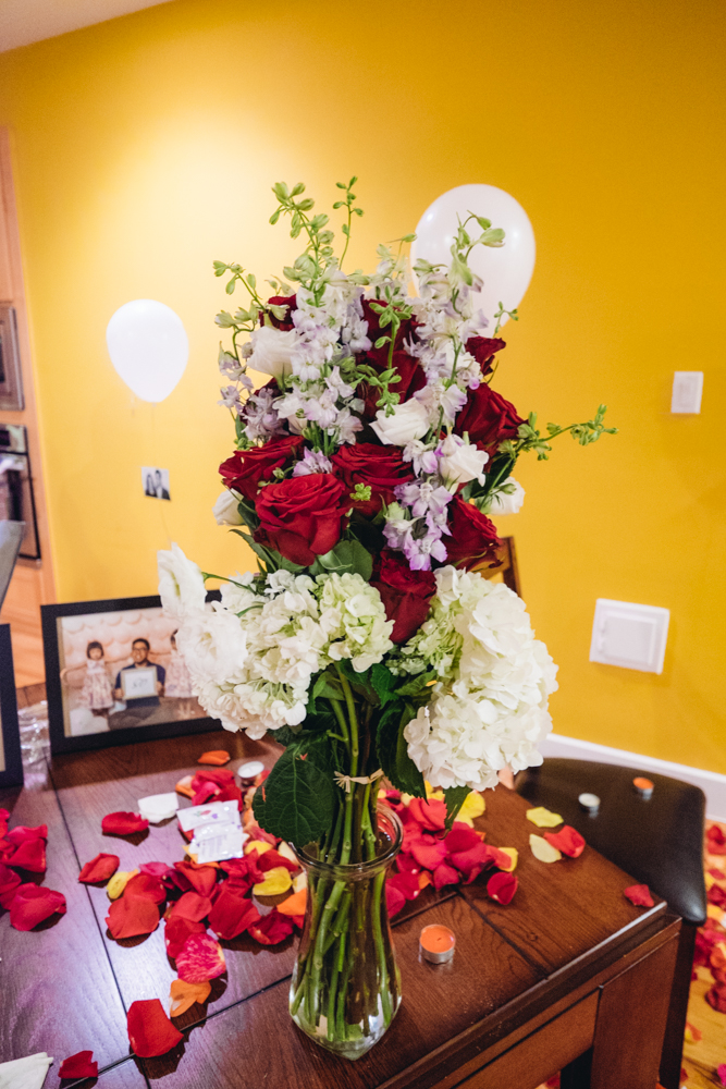 This is the other bouquet I handed to her when she got to the top of the stairwell.