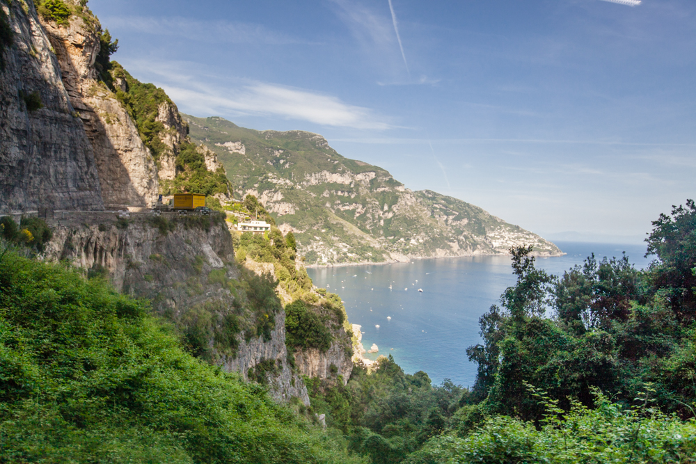 Don't expect to see much of the view if you're the one driving.  The road along this cliffside is narrow and windy.  Barely enough room for one car each way, let alone a bus!  But i t's true what they say about the drive along the Amalfi Coast... it is the best scenic route in the world.