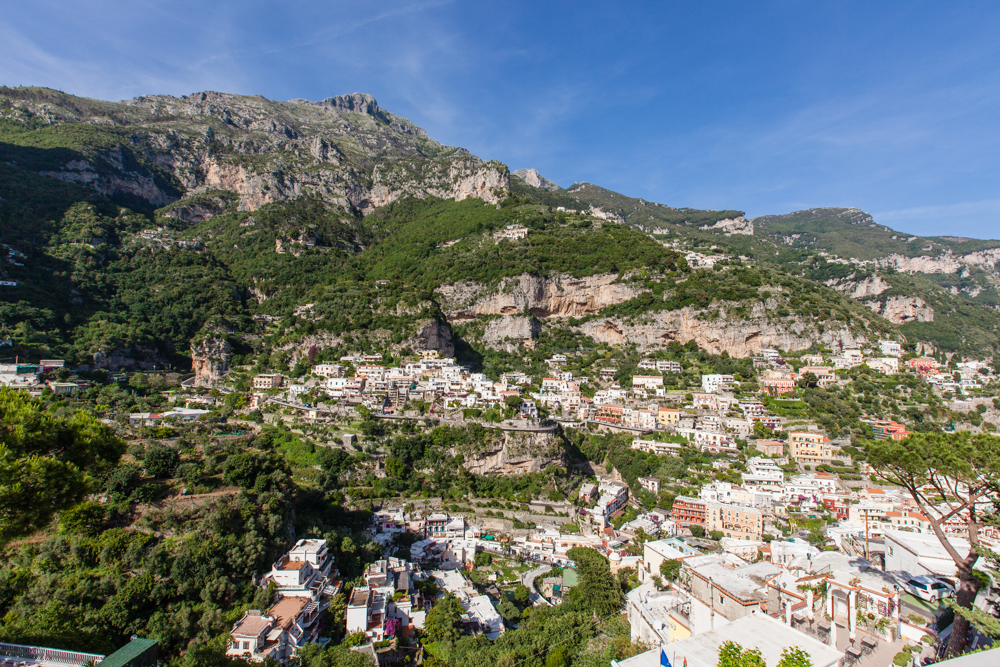 Our first view of Positano from the top of the hillside