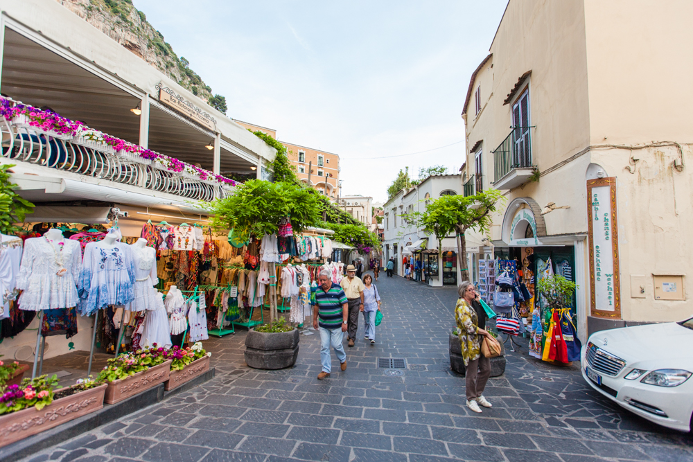 The streets are lined with boutiques and cafes.  Positano specializes in linens, hand-painted ceramics, and hand-made leather shoes and sandals.