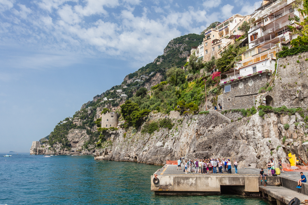 A view of one of the docks, where you can take a boat to any city along the Amalfi Coast.