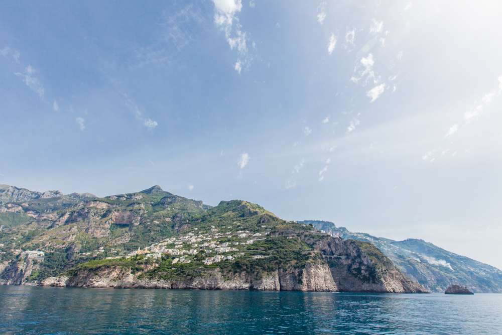For the best view, sit on the left of the boat as you're heading from Positano to Amalfi.