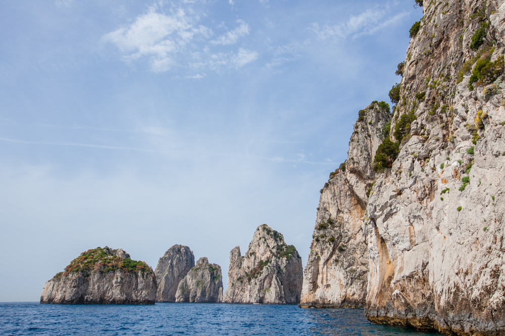 "Approaching the infamous Faraglioni; ""the Three Rocks of Capri"""