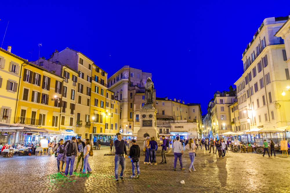 Campo de Fiori; we stumbled upon this town square by chance.  Good live music at night and several options for food/drinks.