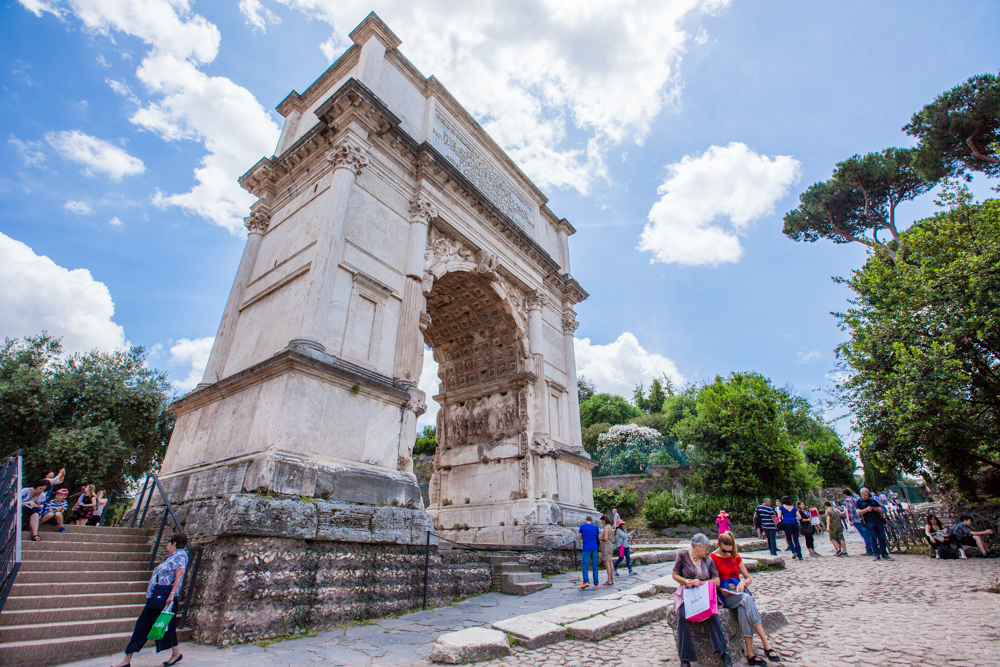 The Arch of Titus (82 AD), located inside the Roman Forum