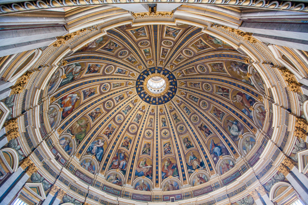 View of the top of the dome in St. Peter's Basilica