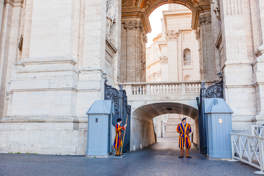 The Swiss Guards outside of St. Peter's Basilica