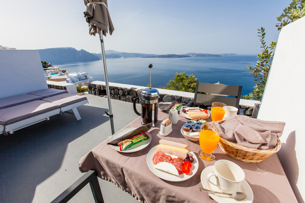 Mediterranean breakfast on our balcony.