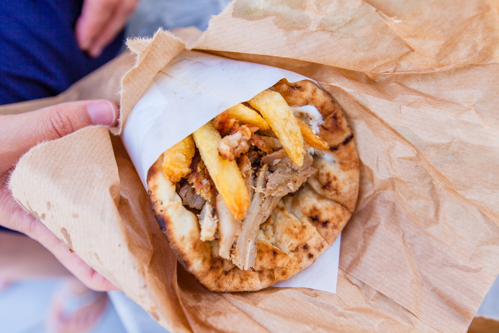 Not the best gyro that I've had, the meat was dry and somewhat flavorless.  However, we did find a place with good gyros in Fira (next blog post, stay tuned!)