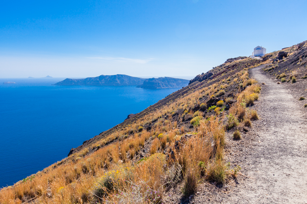 This trail leads up to a church, which has the best view of Oia from above.