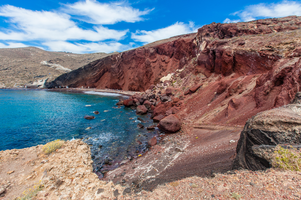 Red Beach near the ancient site of Akrotiri (red and black volcanic rocks line the cliff)