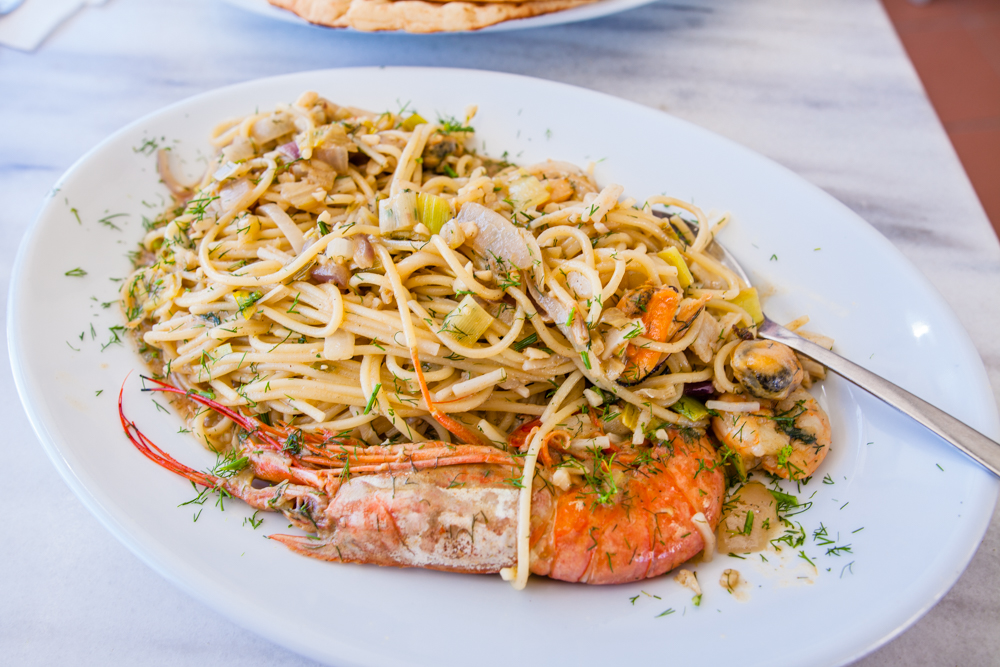 Seafood pasta at Lotza in Oia