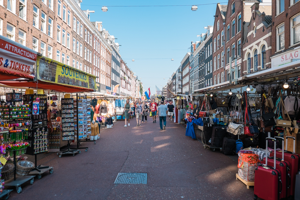 From the Heineken Brewery, we walked over to Albert Cuyp Market.  It's an outdoor market that started around 1904.  You can find everything from fresh fruit, vegetables, meats, cheeses, and clothing/cosmetics.