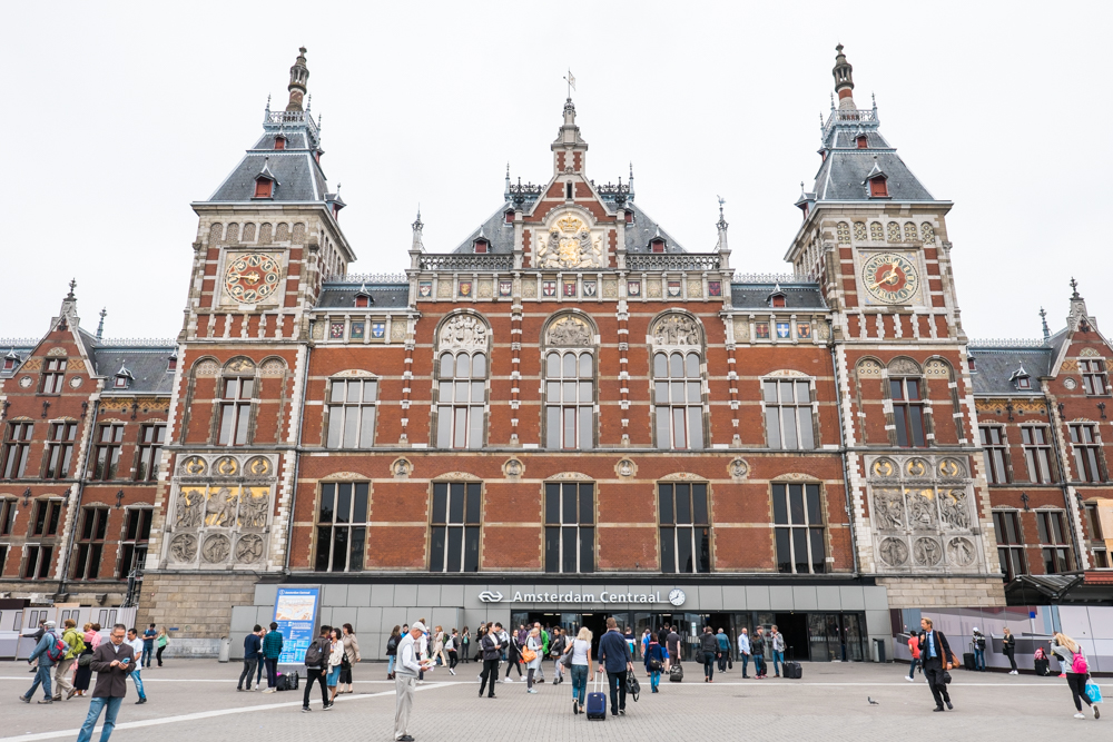 Amsterdam Central Station (founded in 1889); here you will be able to find domestic and international trains around Europe