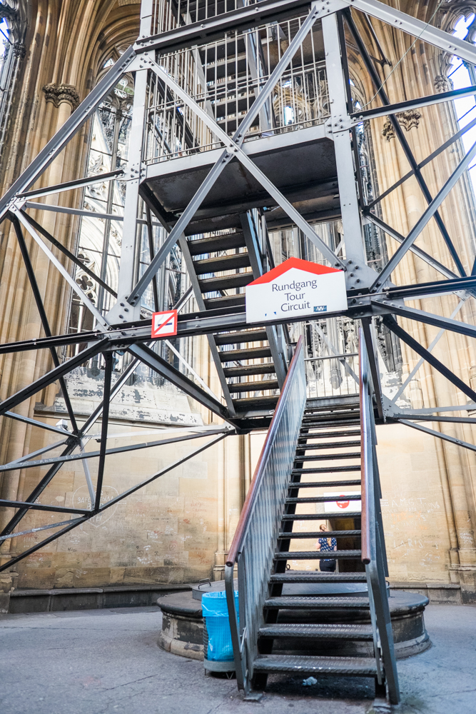 The last set of stairs up to the top of the Cologne Cathedral (533 steps total)
