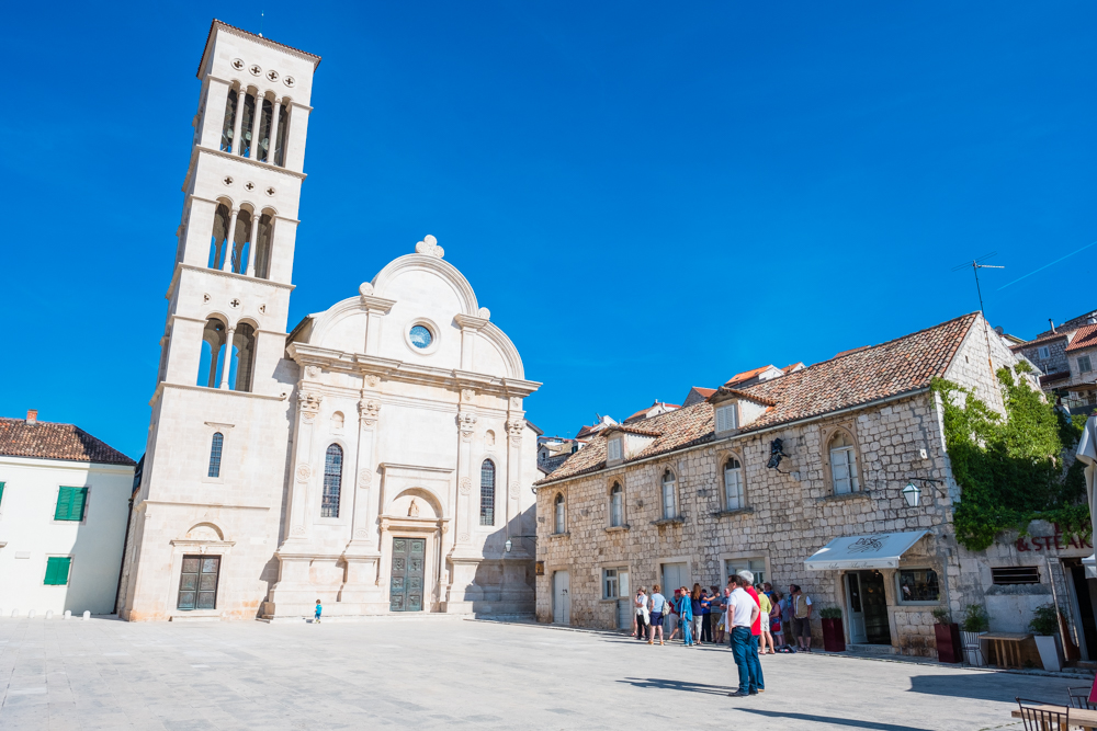 St. Stephen's Cathedral in the center of Hvar's town square