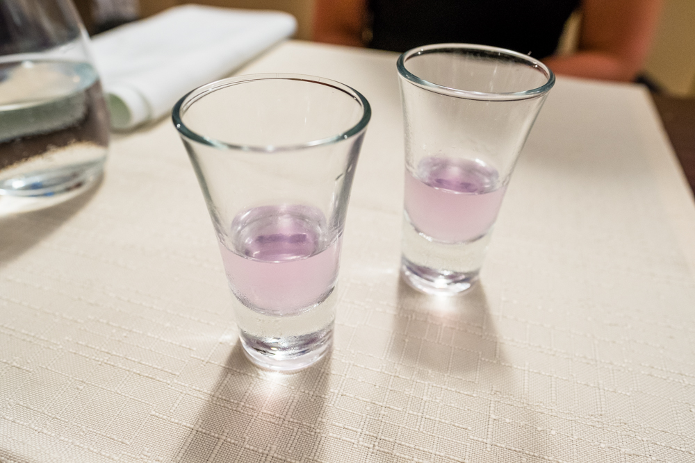 Lavender liquor to finish the meal